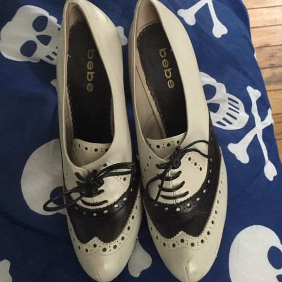 Bebe saddle shoe high heels 9m Black and white Bebe 9m saddle shoe high heels used but still have some life left scuffs on both ask for more pics bebe Shoes Heels