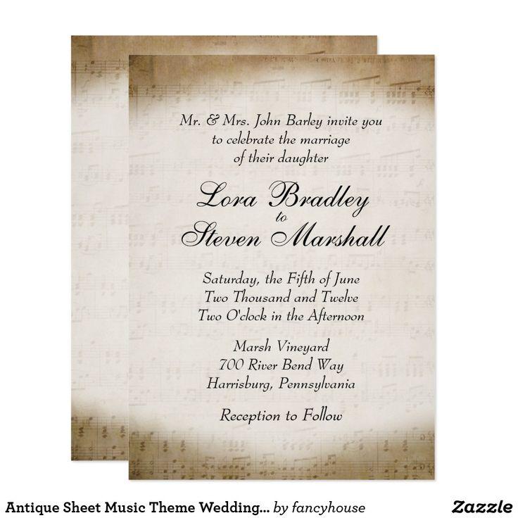 Antique Sheet Music Theme Wedding Invitation 50 Off