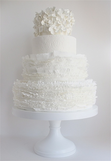 white ruffle cake topped with white hydrangea