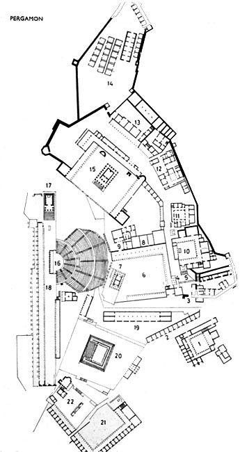 map of the pergamon acropolis ancient greece pinterest. Black Bedroom Furniture Sets. Home Design Ideas