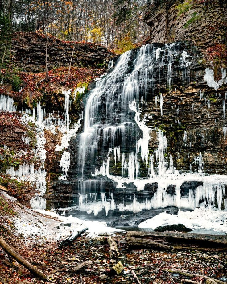 My latest release is titled Change of Seasons - Order 538 - photographed in Ancaster Ontario Canada.  This piece features a gradual transitioning from Autumn to Winter.  Most of the fall foliage has fallen blanketing the shale outcroppings along the cliff face. Giant icicles begin to form throughout the 21m tall ribbon waterfall due to a two day record breaking November cold snap.