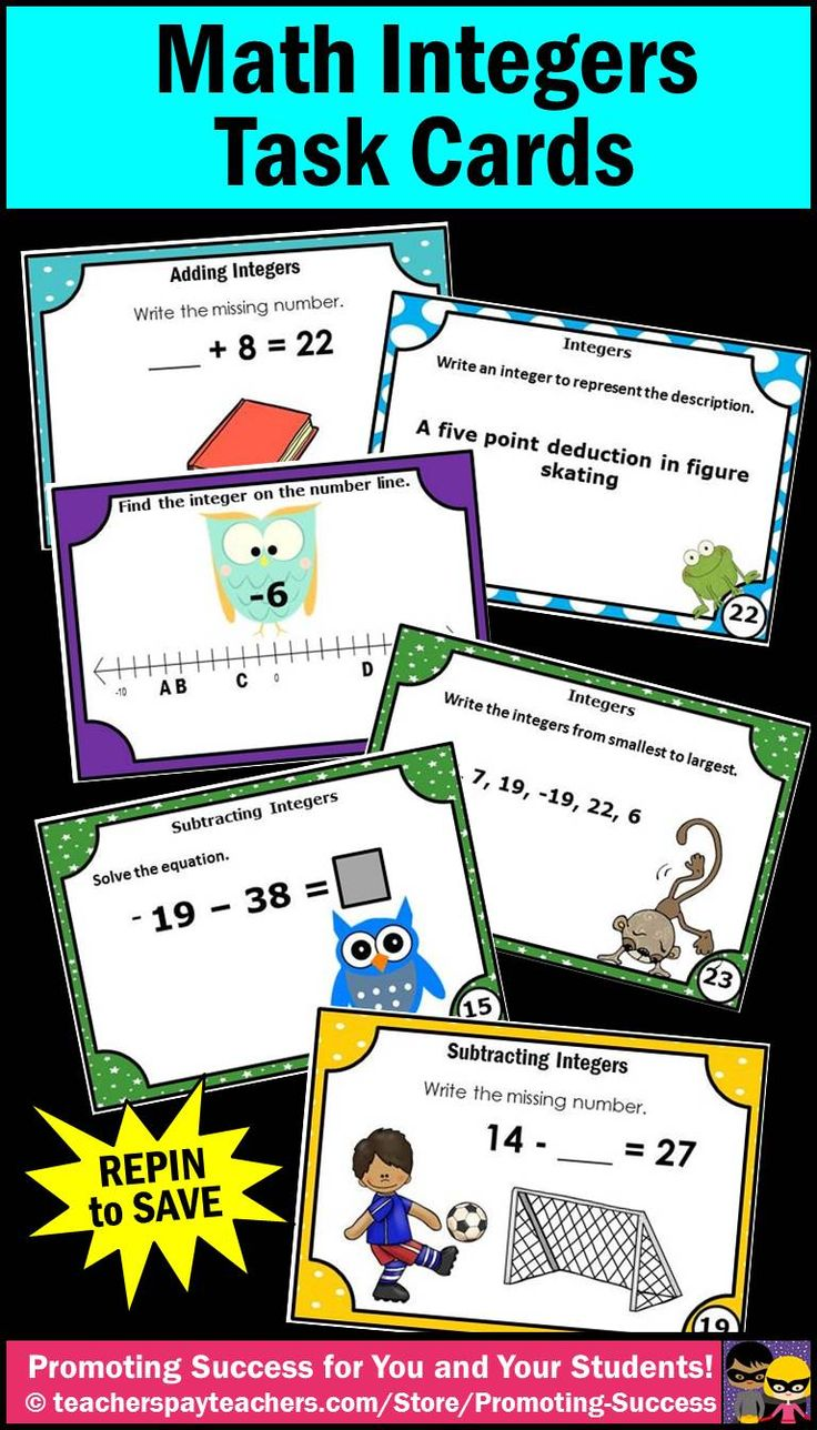 Integers Activities: Here are several sets of task cards to help your students learn all about integers.  You will find integers on a number line, ordering integers, addition, subtraction, and phrases. https://www.teacherspayteachers.com/Store/Promoting-Success/Search:integers #promotingsuccess