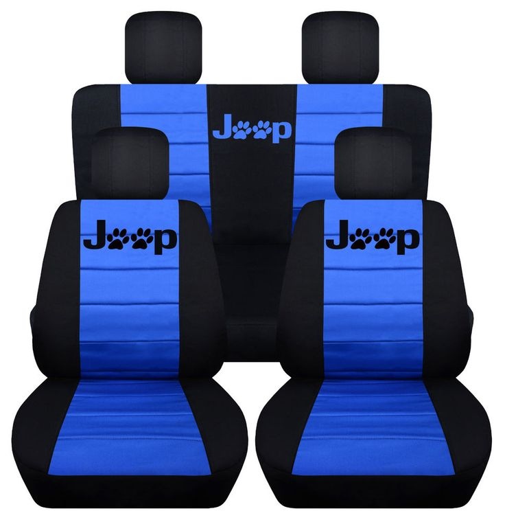 Front&Rear Black-Med Blue Seat covers Paw prints 2Door Jeep Wrangler 2011-2016 in eBay Motors, Parts & Accessories, Car & Truck Parts | eBay