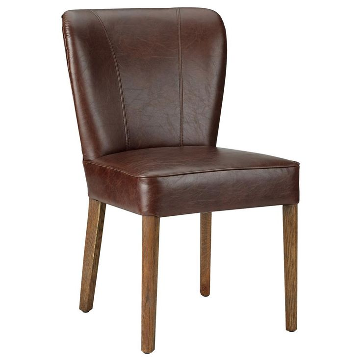 Atelier - Industrial Chic - Bonded leather dining chair with wood legs