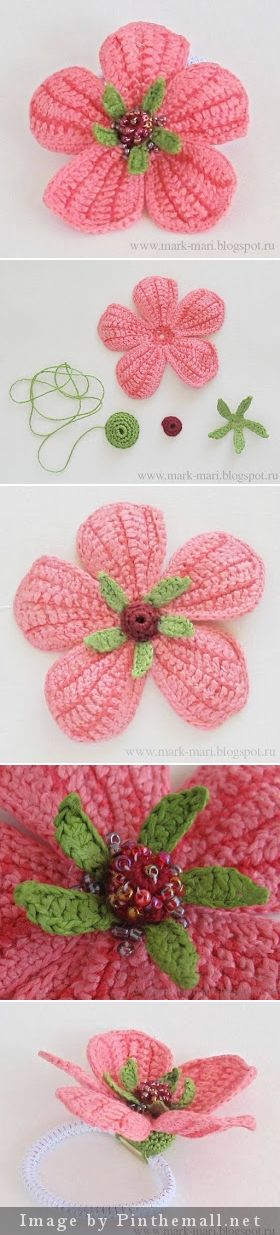 """#Crochet #Tutorial """"Beaded flower tutorial with many pictures and Russian text. A useful flower for hats, brooches, etc."""" #KnittingGuru http://www.pinterest.com/KnittingGuru Go to mark-mari.blogspot for more info."""