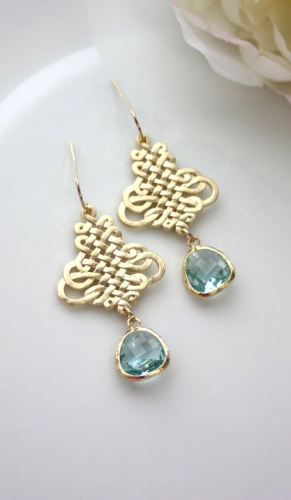 Aquamarine Gold Frame Glass Drops, Gold Plated Chandelier Dangle Earrings. Bridesmaid Gift, Aqua Blue Gold Wedding. Something Blue. By Marolsha.