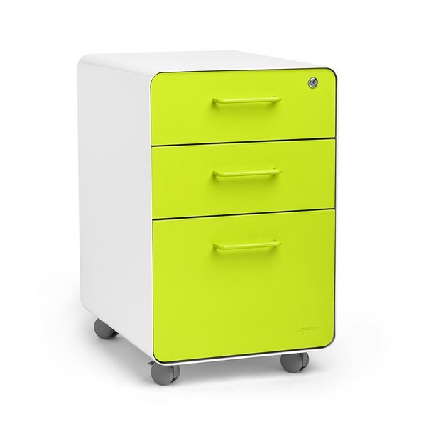 Poppin White Lime Green Stow 3 Drawer Rolling File