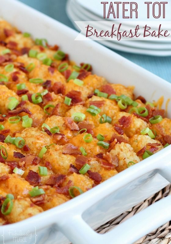 Tater Tot Breakfast Bake Recipe. Crispy, golden tots, melty cheese, and a little bacon and sausage in every bite! Easy peasy. Plus, you can make it the night before if you want to.
