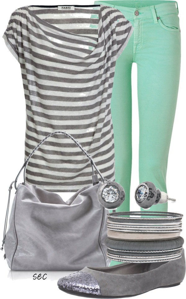"""Grey stripes"" and mint! <3"