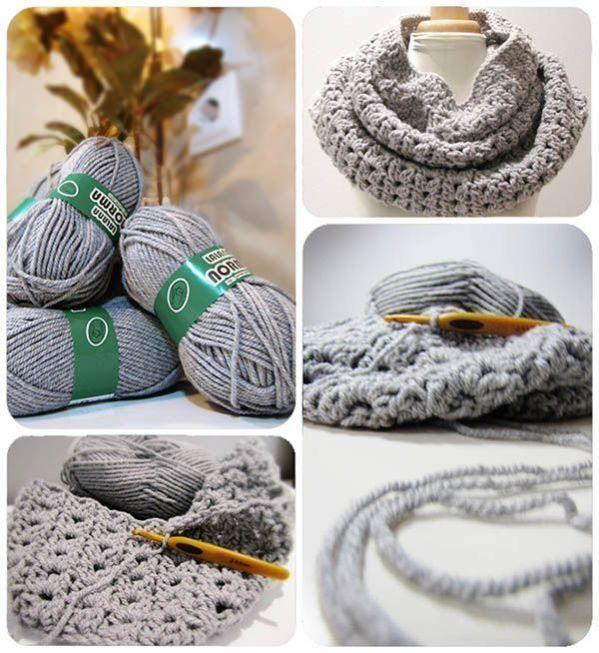Cuello de lana gris de crochet - Tutorial paso a paso DIY