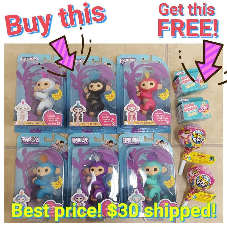 FREE TOY OF CHOICE! Purchase a Fingerling get a FREE Pikmi Pop or Num Nom Light Up Ring!  Cheapest price you'll find!  I have one of each color Monkey available.  First come first serve.  Can hold for 10 minutes only.  I can combine shipping if you purchase more than one.  DM me now  #fingerling #monkey #fingerlingmonkey #couponingcommunity #couponcommunity #coupon #coupons #couponer #couponing #gooddeal #raffle #ufg #uft #idso #iso #hottoy #christmas #wishlist #lolsurprise #bigsurprise #lol…