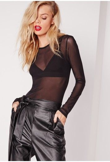 Black mesh bodysuit via Missguided