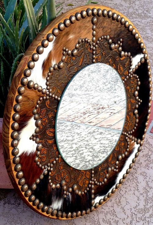 western style bathroom mirrors | FANCY WESTERN ROUND MIRROR IN COWHIDE & EMBOSSED LEATHER | Western ...