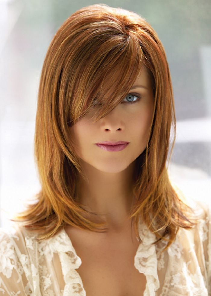 Medium Length Hairstyles Side Swept Bangs Layers