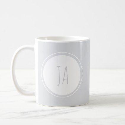 Cute Stylish Gray Monogram Initials Simple Coffee Mug - simple clear clean design style unique diy