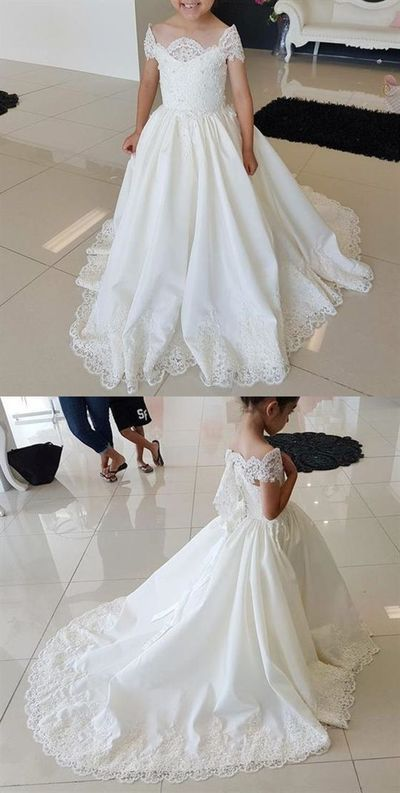 00a3ccba01 White Off Shoulder Sleeveless Lace Appliques A Line Long Flower Girl Dresses