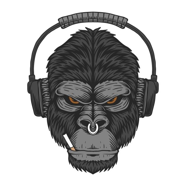 Gorilla Headphone Cigar Vector Illustration Aggressive Angry Animal Png And Vector With Transparent Background For Free Download Vector Illustration Gorilla Metal Prints