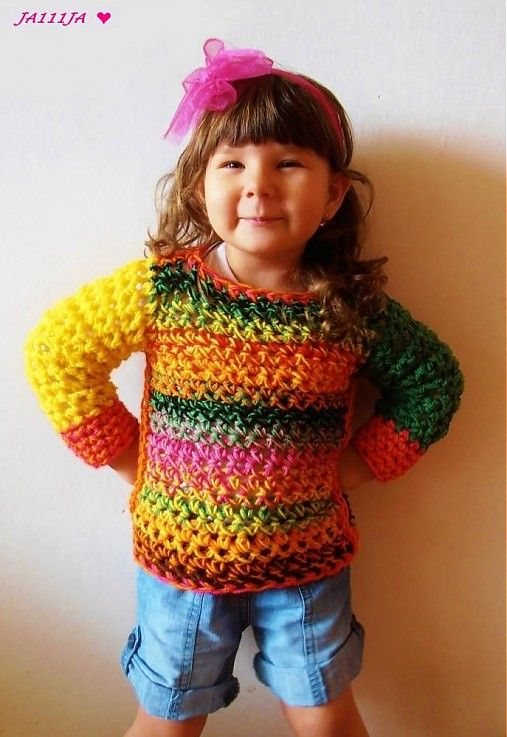 Cute little girl!, I love the jumper too! #crochetsweater #crochet
