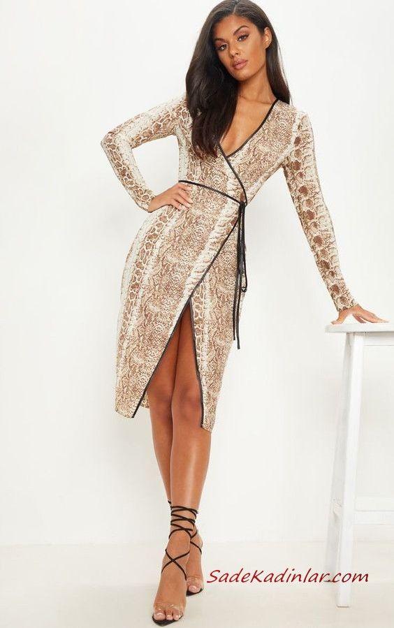 850e5d7be737e Yılan Derisi Elbise Modelleri Kahverengi Midi Kruvaze Yaka Yılan Derisi  Elbise Siyah Stiletto Ayakkabı #moda #fashion #fashionblogger  #fashionoutfits ...