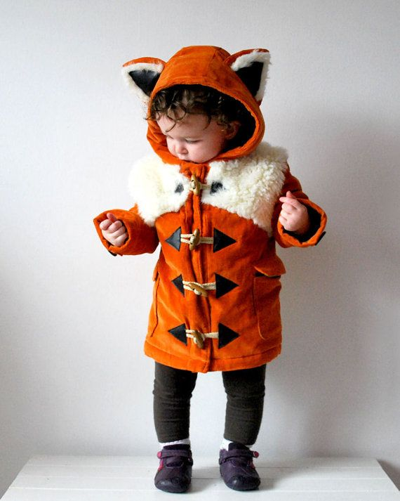 Kids fox coat orange childrens animal corduroy duffle jacket furry faux fur autumn fluffy baby babies girl boy toddler woodland fox outfit