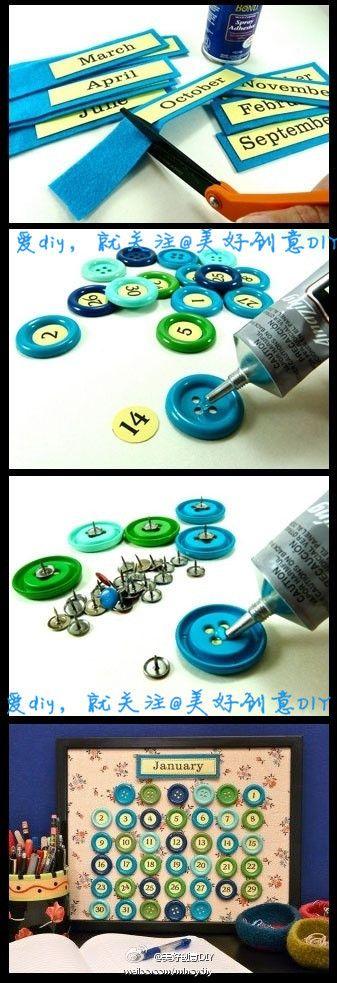 DIY Beautiful Button Calendar