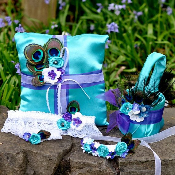 peacock ring bearer pillow, peacock garters, peacock flower girl baskets