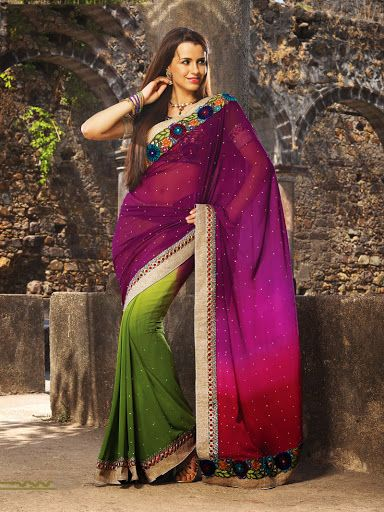 Exquisite Aloe Vera Green & Pale Eggplant Embroidered Saree | StylishKart.com