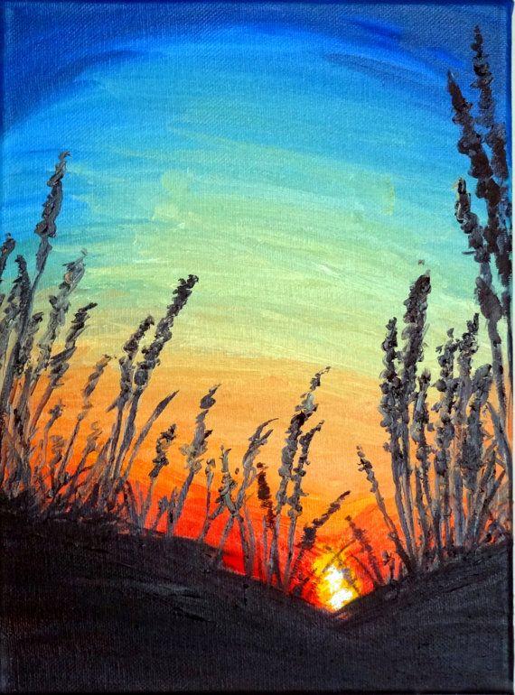 original sunset silhouette reeds red orange green blue oil