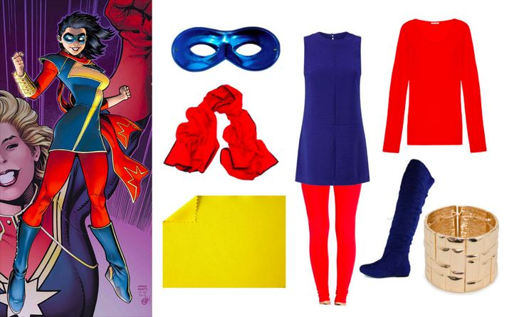 Easy Kamala Khan Ms. Marvel Halloween Costume. Get the look and more geeky Halloween costume ideas on Wrong Button Blog!
