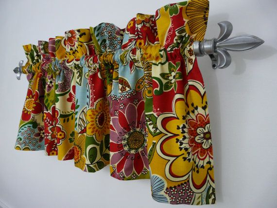 Colorful Floral Primary Color Red Blue Green Purple Yellow Orange Valance Cheerful Kitchey