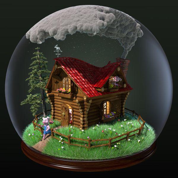 3 Little Piggies Snow Globe 3D Illustration by Ferdi Dick, via Behance