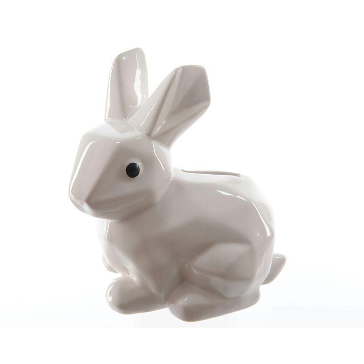 Spaarpot konijn keramiek wit 14,5x10x16 cm