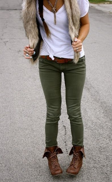 green pants. Brown ankle boots. White v neck.
