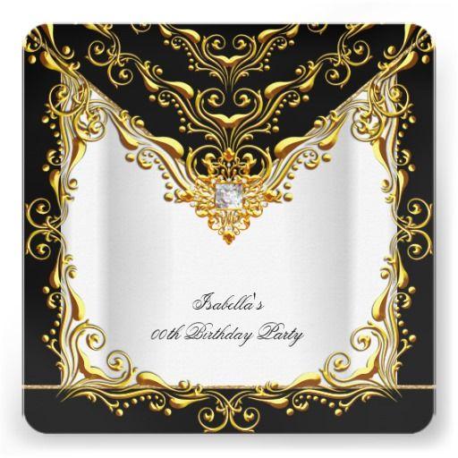 Elegant White Silver Black Gold Birthday Party 2 Invitation