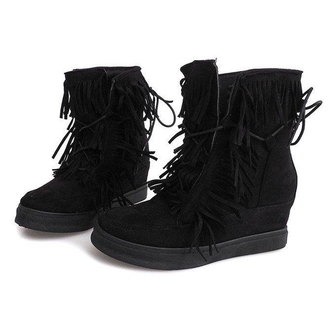 Sneakersy Na Koturnie Z Fredzlami Boho 881 2 Czarny Czarne Wedge Sneakers Chunky Sneakers Suede Wedges