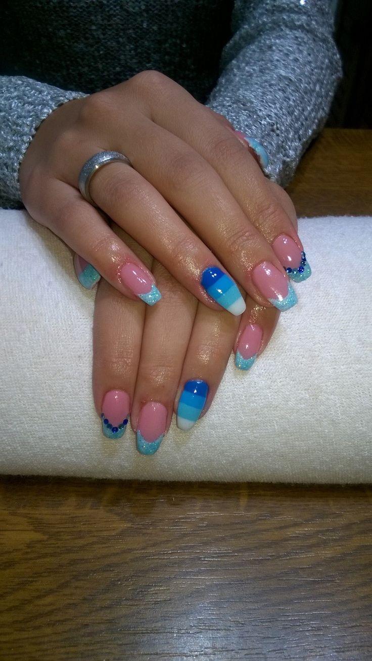 blue gel, blue glitter and blue stripes and blue rhinestones