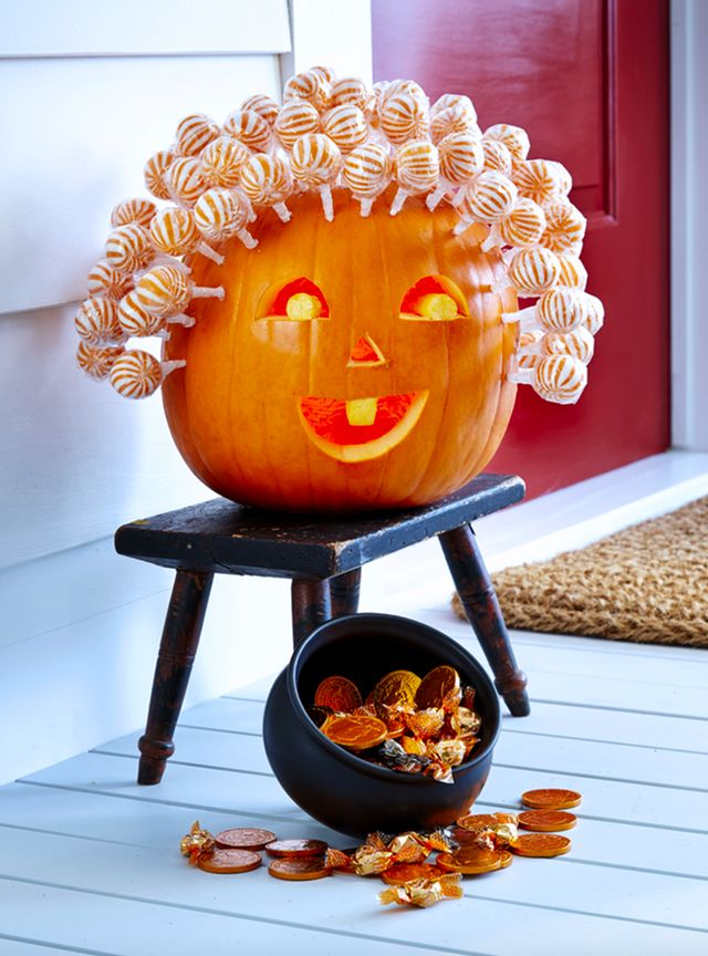 Pumpkin decorating is usually something that grown-ups handle, but these 6 cute kid-friendly ways to decorate pumpkins for Halloween are some that your little monsters, too, can enjoy. This lollipop greeter is one great way to get more trick or treaters on your doorstep. Carve a friendly face and drill small holes for lollipop sticks, then have your kids fill 'em with lollipops that are free for the taking.