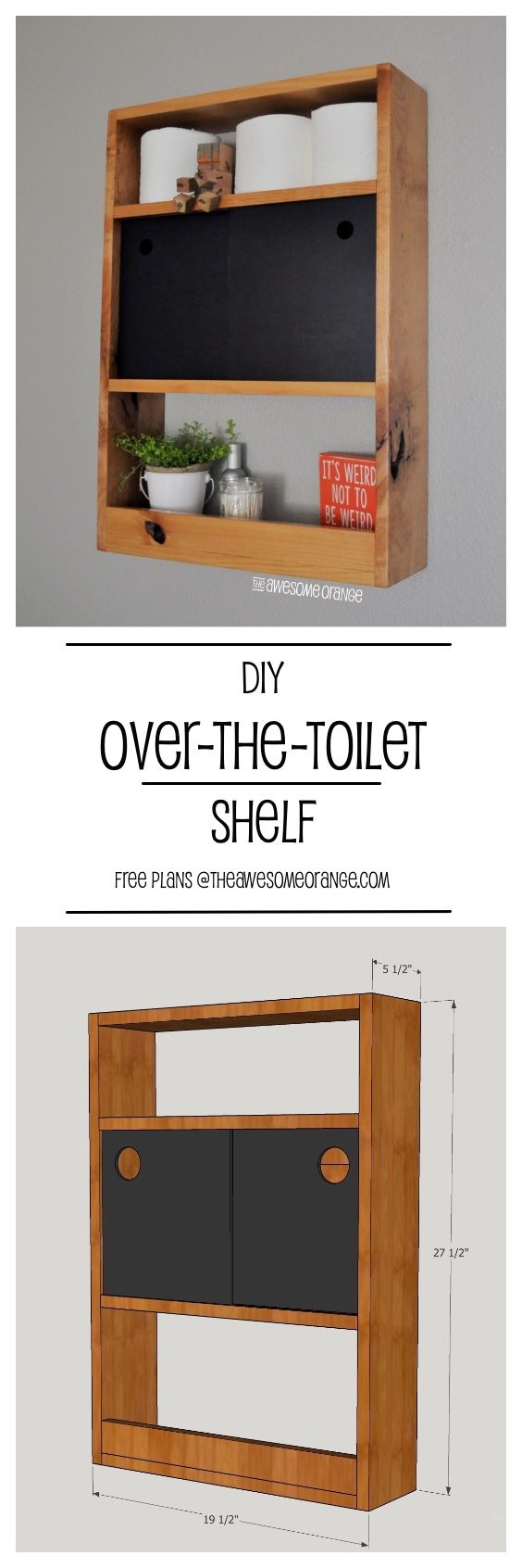 DIY Over The Toilet Shelf FREE Plans from wwwtheAwesomeOrangecom