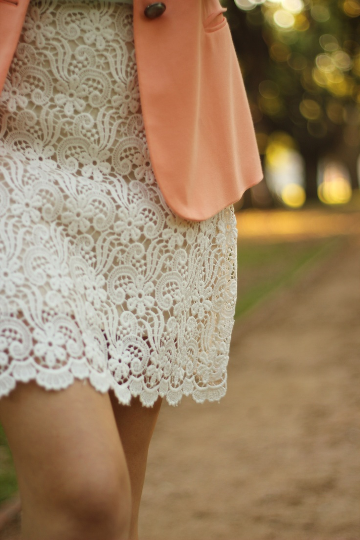 .love laceStyle 3, Closets, Pastel Pink, White Lace, Peaches, The Dresses, Lace Skirts, Lace Dresses, Pink Blazers