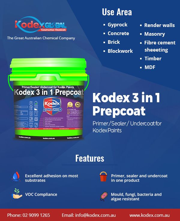 All in one Primer sealer #Kodex #3in1 #Prepcoat is Ammonia free pure acrylic product which is suited to all substrates. Product use areas are brick, masonry and more.