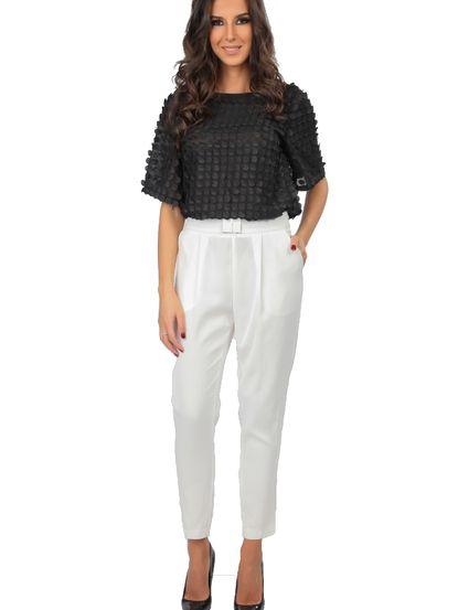 Dámske Nohavice CARLA BY ROZARANCIO #Dámske Nohavice #black_white_fashion #black_white_passion #women_fashion #fashion_outfit #elegant_style #bussines_style