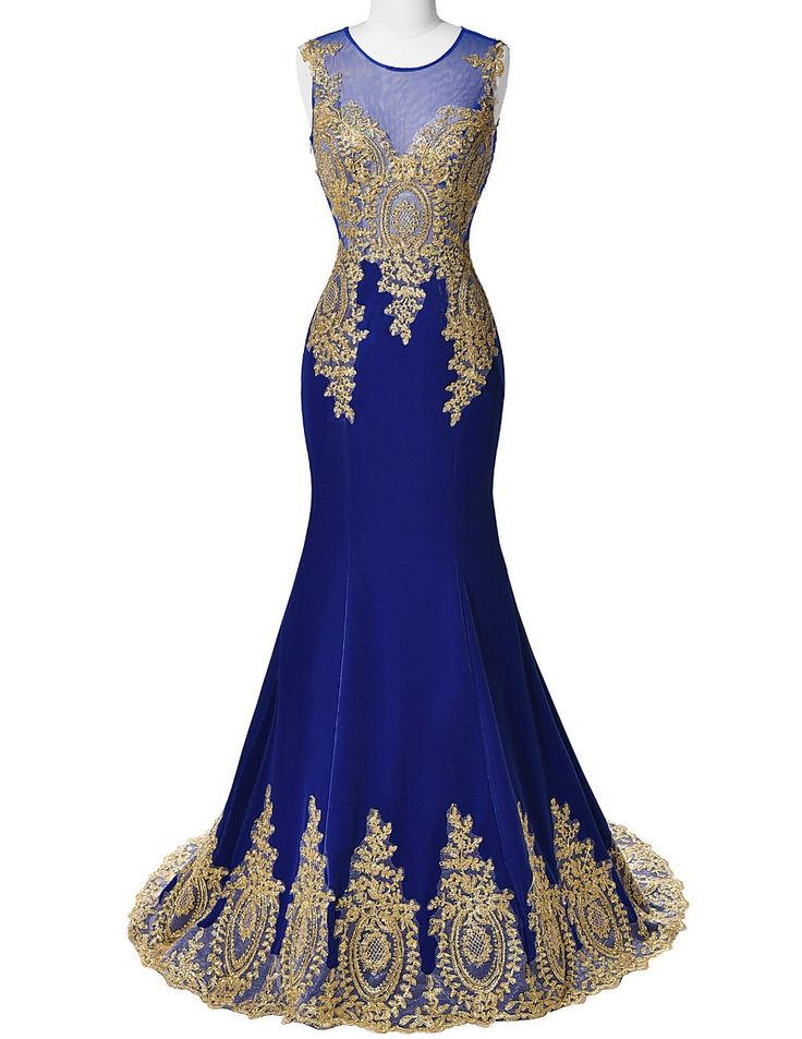 Blue Mermaid Luxury Prom Dress Gold Applique Floor Length Party Formal Gown