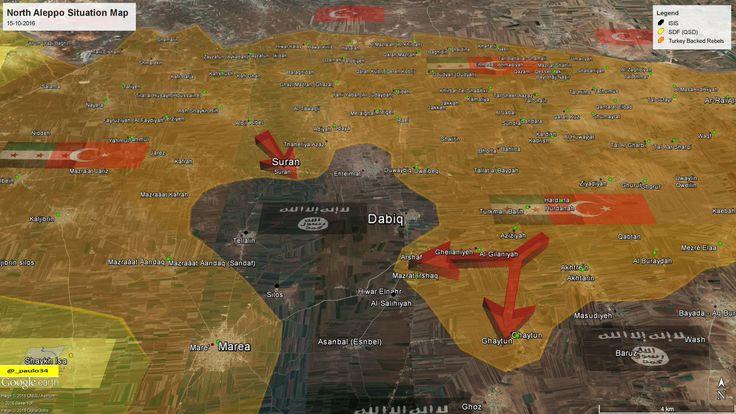 North #Aleppo Situation Map  15-10-2016 #Syria #Rebels & #Turkey vs #ISIS vs #SDF #EuphratesShield