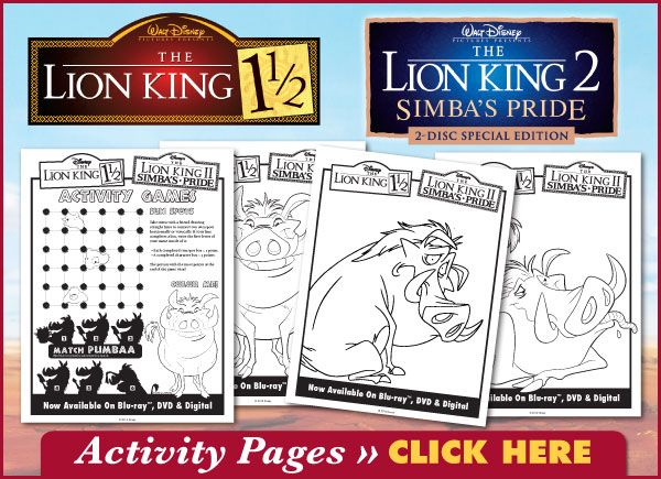The Lion King 1.5 & 2 Downloadable Activity Pages