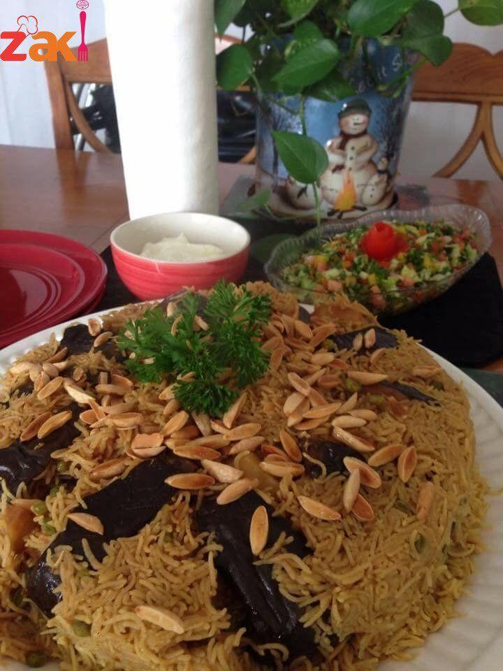 طريقة مقلوبة الباذنجان والبطاطس زاكي Arabian Food Mediterranean Recipes Arabic Food