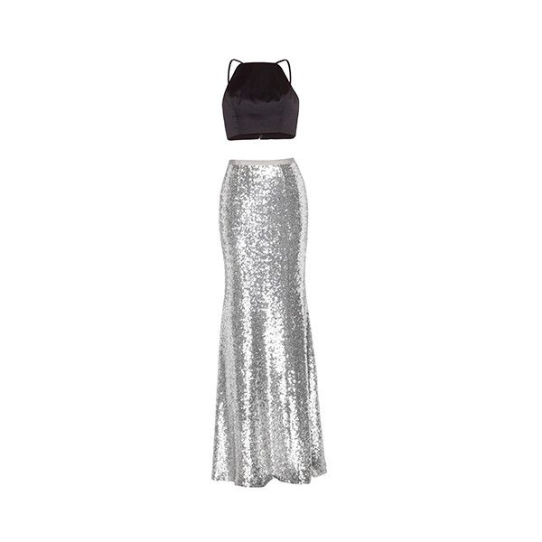 Silver Gem Two Piece Dress ($299) ❤ liked on Polyvore featuring dresses, gowns, maxi dress, silver, two piece, formal maxi dresses, tie-dye maxi dresses, homecoming dresses, maxi dresses and formal gowns
