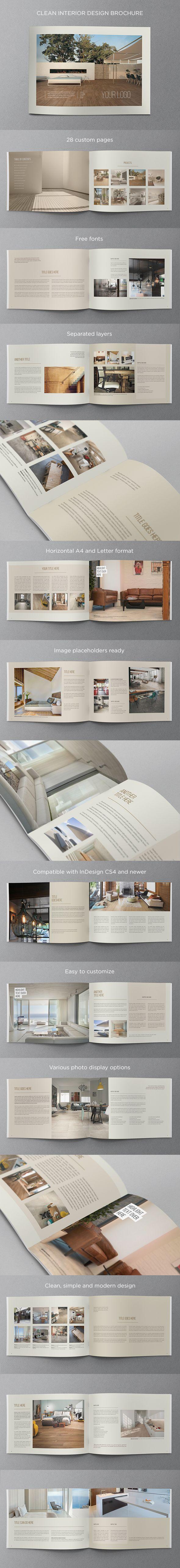 Clean Interior Design Brochure. Download here: http://graphicriver.net/item/clean-interior-design-brochure/11531896?ref=abradesign #design #brochure