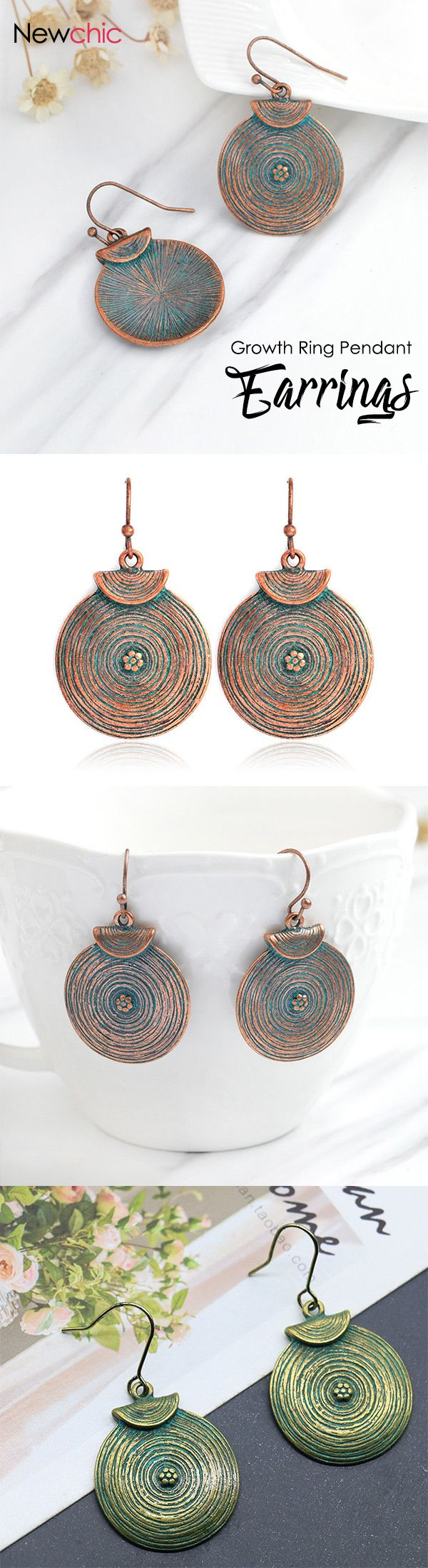 [Newchic Online Shopping] 50% OFF Vintage Growth Ring Drop Earrings