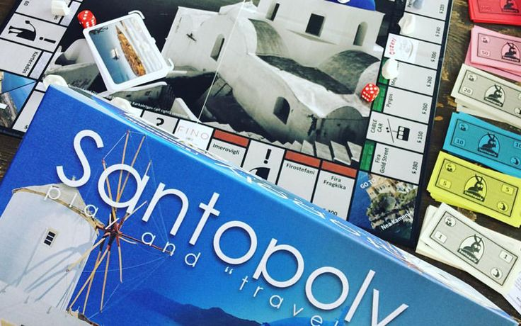 Santopoly | Santorini Board Game. Wander around Santorini's villages.Buy! Sell! Build! Force your opponents to bankruptcy! Share lots of fun moments with the best real-estate board game that will travel you to this unique Greek island!