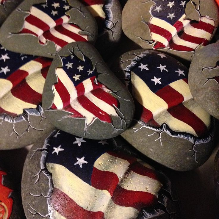 Love his flag rocks! #patriotic #flag #rockart #ro…